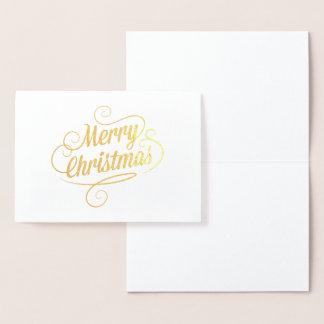 Ouro da tipografia do Feliz Natal Cartão Metalizado