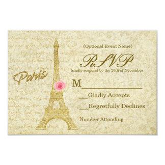 Ouro da torre Eiffel de Paris & cartão elegante