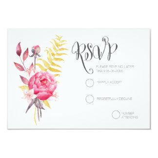 Ouro das peônias da aguarela que Wedding cartões Convite 8.89 X 12.7cm