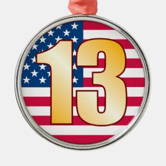 Ouro de 13 EUA Ornamento Redondo Cor Prata