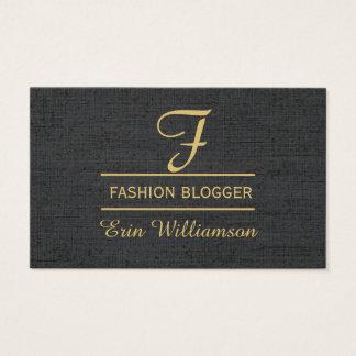 Ouro de linho do preto do Blogger da forma mínimo Cartão De Visitas