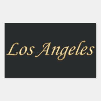 Ouro de Los Angeles - no preto Adesivo Retângular