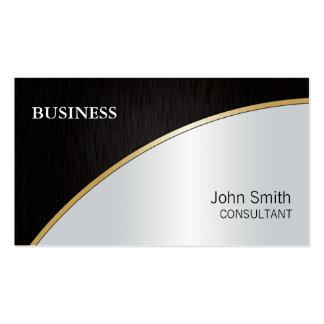 Ouro de prata preto moderno elegante profissional cartão de visita
