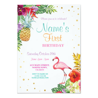 Ouro do aniversário da menina do flamingo Aloha Convite 12.7 X 17.78cm