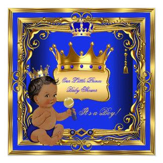 Ouro do azul do menino do príncipe chá de fraldas convite quadrado 13.35 x 13.35cm