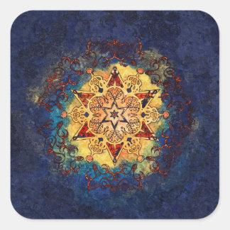 Ouro do brilho da estrela e etiquetas azuis