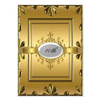 Ouro do convite de aniversário do ouro