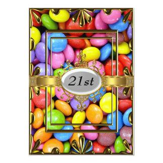 Ouro do convite de festas do aniversário de 21