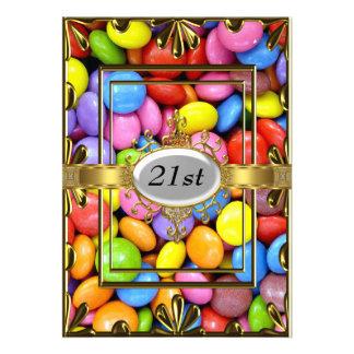 Ouro do convite de festas do aniversário de 21 ano