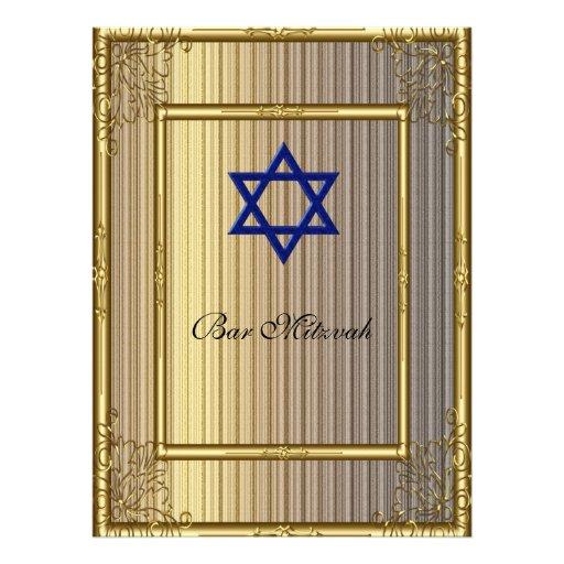 Ouro do convite de Mitzvah do bar
