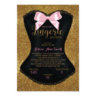 Ouro do convite do bachelorette do chá da lingerie