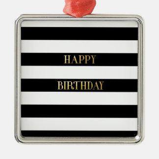 Ouro do feliz aniversario ornamento quadrado cor prata