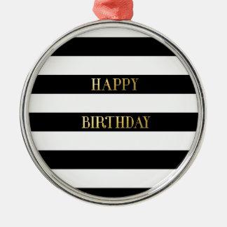 Ouro do feliz aniversario ornamento redondo cor prata