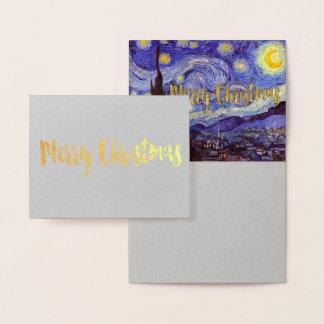 Ouro do Feliz Natal da noite estrelado de Vincent Cartão Metalizado