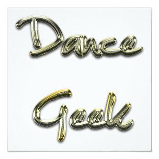 Ouro do geek da dança convite quadrado 13.35 x 13.35cm