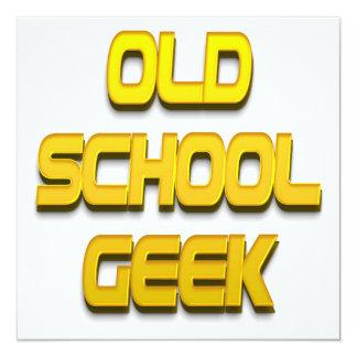 Ouro do geek da velha escola convite quadrado 13.35 x 13.35cm