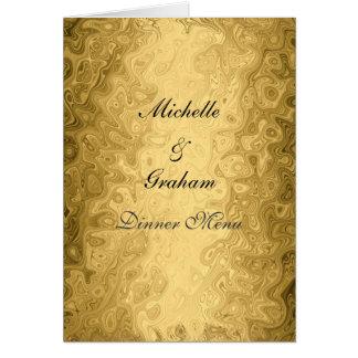 Ouro do menu do casamento cartão comemorativo
