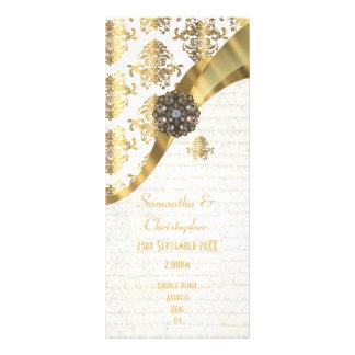 Ouro do pergaminho e programa branco do casamento 10.16 x 22.86cm panfleto