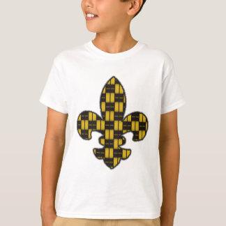 Ouro do preto da flor de lis do carnaval camiseta