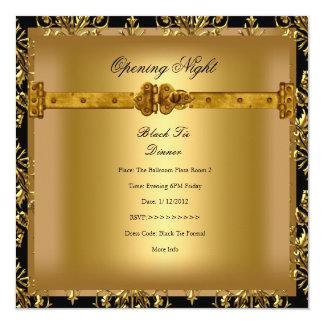 Ouro do preto do damasco da empresa da abertura convite quadrado 13.35 x 13.35cm