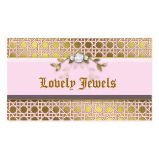 Ouro do rosa da folha da estrutura da jóia da form modelo cartão de visita