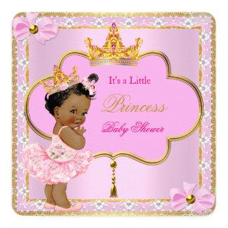 Ouro do rosa da menina da princesa chá de fraldas convite quadrado 13.35 x 13.35cm