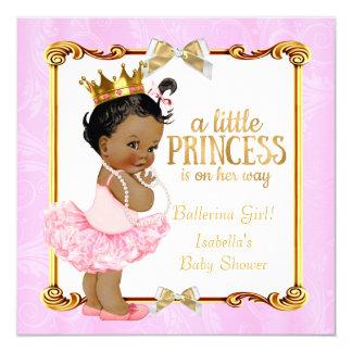 Ouro do rosa da princesa chá de fraldas da convite quadrado 13.35 x 13.35cm