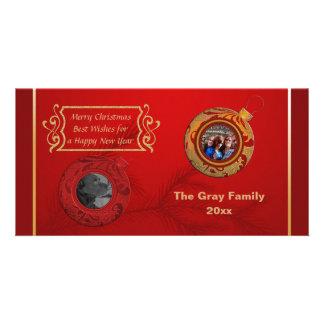 Ouro do vermelho do feliz ano novo do cartão com cartão com foto