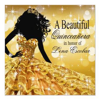 Ouro do vestido de bola | do brilho de Quinceanera Convite Quadrado 13.35 X 13.35cm