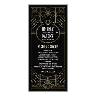 Ouro do vintage do art deco e programas pretos do 10.16 x 22.86cm panfleto