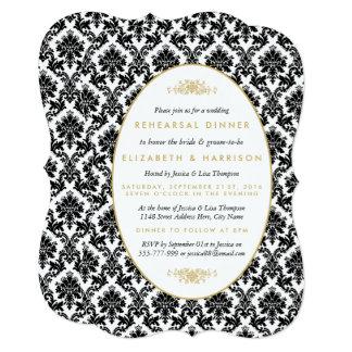 Ouro do vintage, preto, jantar de ensaio branco do convite 12.7 x 17.78cm