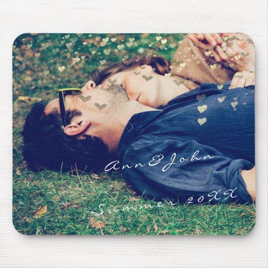 Ouro doce dos corações do verão do nome da foto do mouse pad