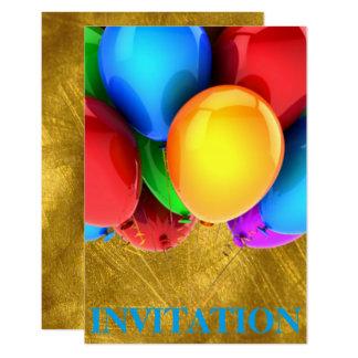 Ouro dos Ballons do carnaval do aniversário do Convite 8.89 X 12.7cm