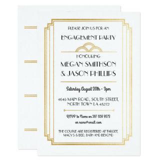 Ouro dos convites da festa de noivado do art deco