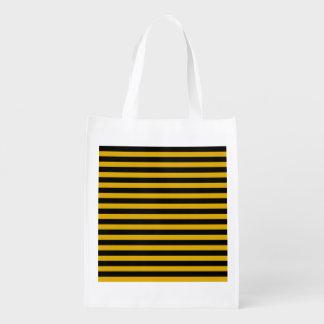 Ouro e a bolsa de compra reusável das listras do sacola ecológica para supermercado