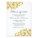 Ouro e anúncio da graduação do redemoinho do preto convite personalizados