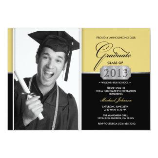 Ouro e anúncio moderno da graduação do preto convite personalizado