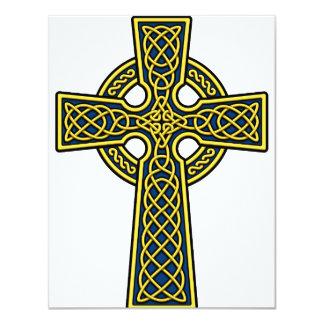 Ouro e azul da cruz celta convite 10.79 x 13.97cm