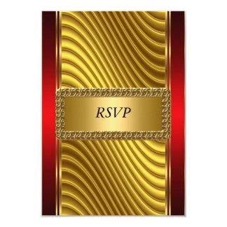 Ouro e bar vermelho Mitzvah RSVP do art deco Convite 8.89 X 12.7cm