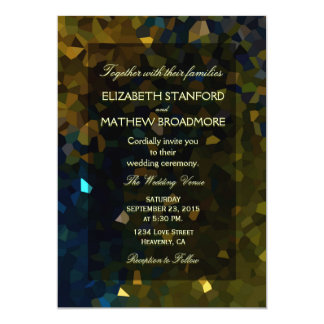 Ouro e brilho de cristal azul convite personalizado