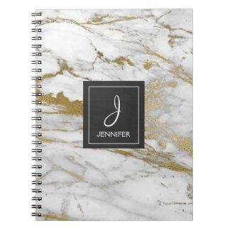 Ouro e caderno de mármore branco do monograma cadernos espiral