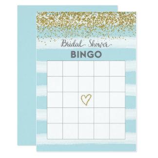 Ouro e cartão azul do Bingo do chá de panela