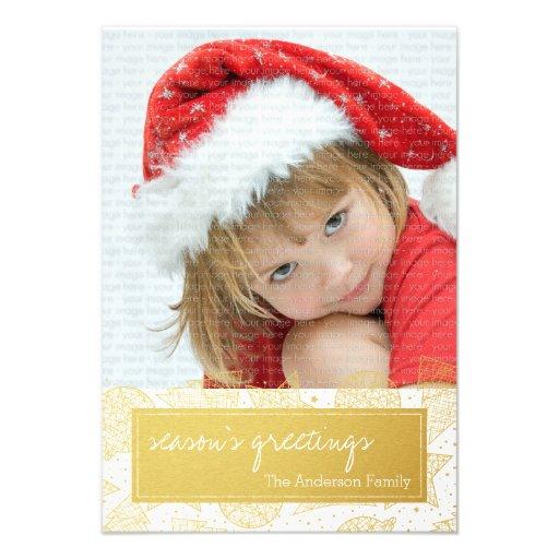 Ouro e cartão com fotos do feriado do White Convites Personalizado