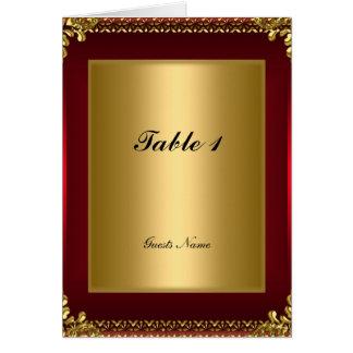 Ouro e cartão e menu vermelhos da colocação da