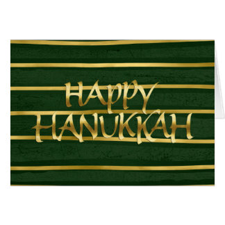Ouro e cartão verde de Hanukkah da listra