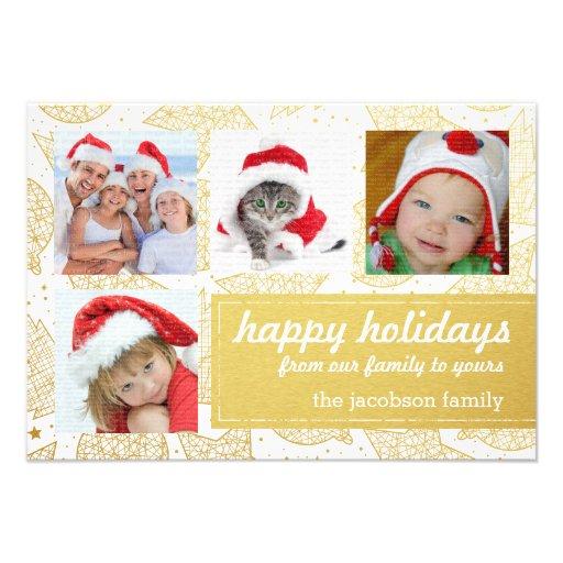 Ouro e cartões com fotos do feriado do White Convite Personalizados