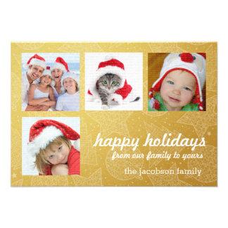 Ouro e cartões com fotos do feriado do White Convite