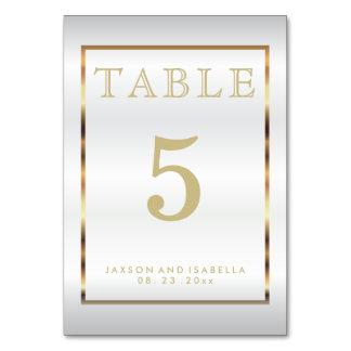 Ouro e cetim branco - cartão da mesa