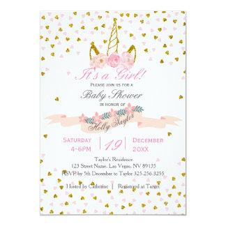 Ouro e convite cor-de-rosa do chá de fraldas do