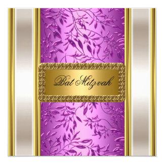 Ouro e convite roxo de Mitzvah do bastão do art